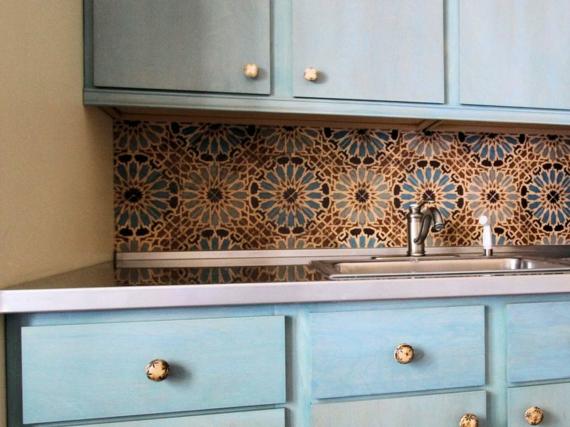 Küchenschrank Küchenspiegel marokkanische Muster Fliesen