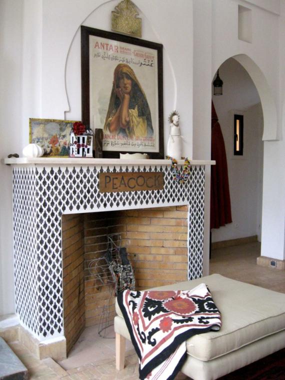 Kamin marokkanische Muster Wohnzimmer Bogen