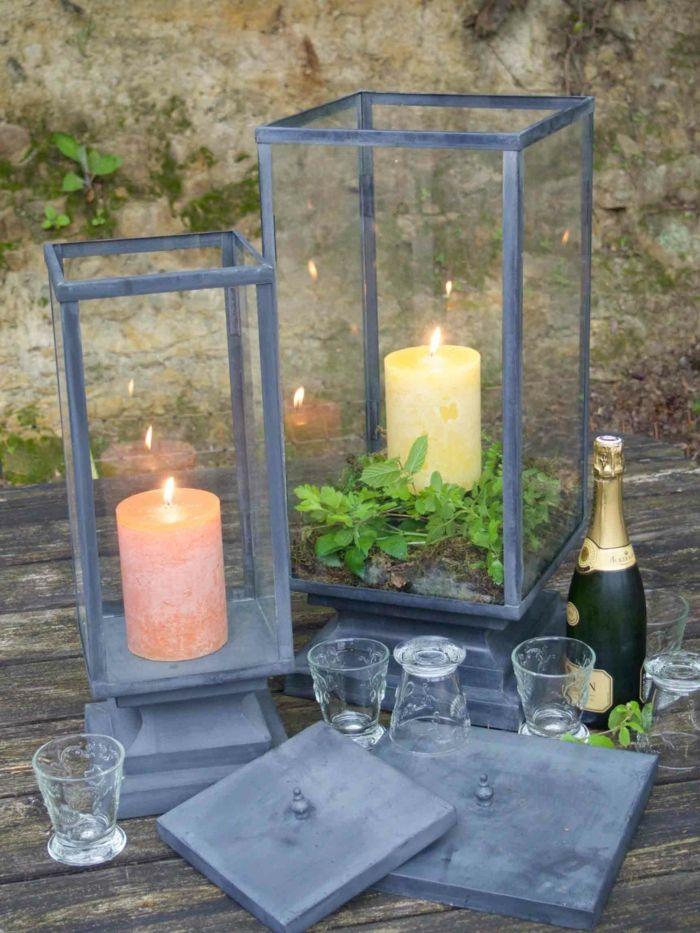 Laternen aus Zink zaubern stimmungsvolles Licht nicht nur im Garten sondern auch auf Terrasse oder Balkon