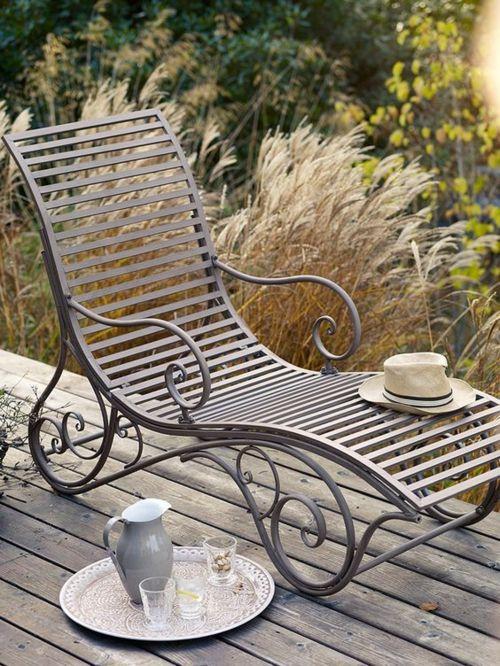 Liegestuhl Schmiedeeisen Outdoor romantisch