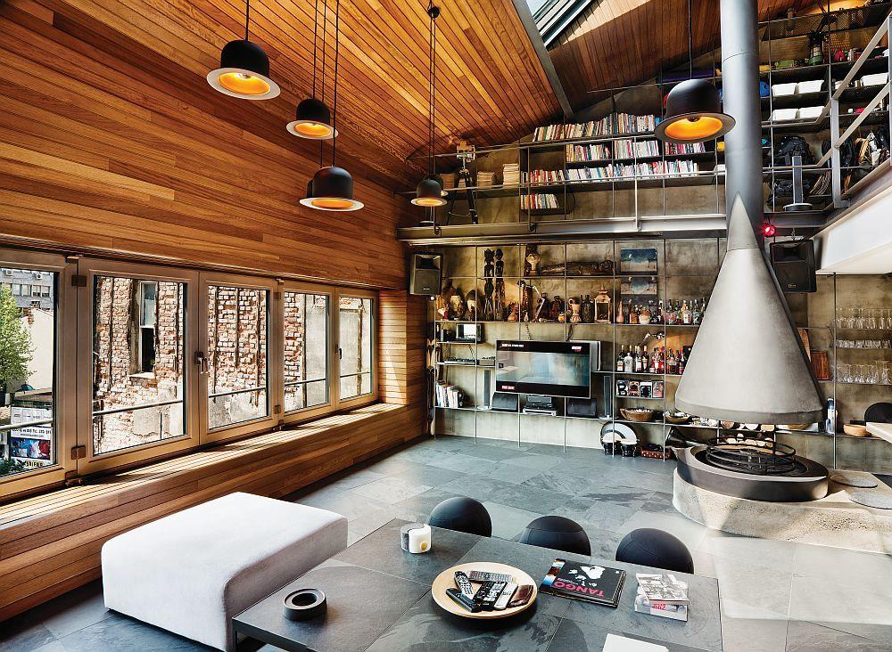 Die Kombination von Metall, Holz und Stein im Interieur ist einfach fantastisch