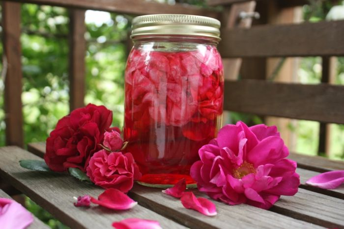 Rosenbowle für die Party im Garten selber vorbereiten
