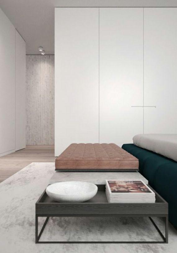 Schlafzimmer Pastelltöne Kleiderschrank in Weiß Teppich