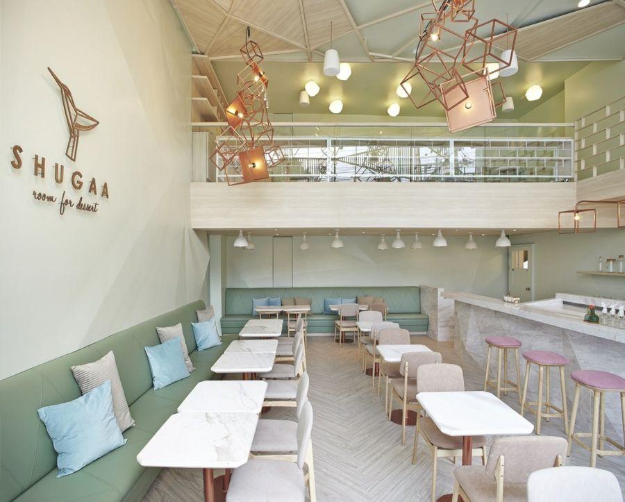 Sitzmöbel gepolstert Pasteltöne Innenausstattung Das Kaffeehaus