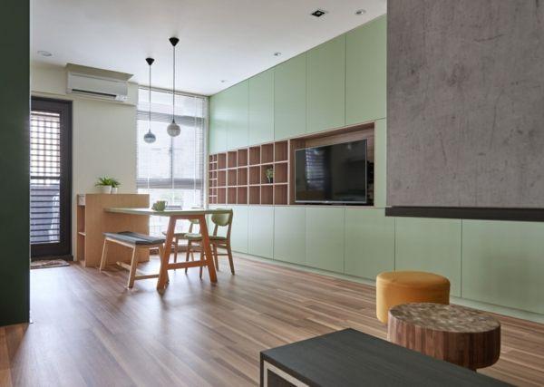 Wohnbereich Innendesign Essbereich grüne Mäbel Holzboden