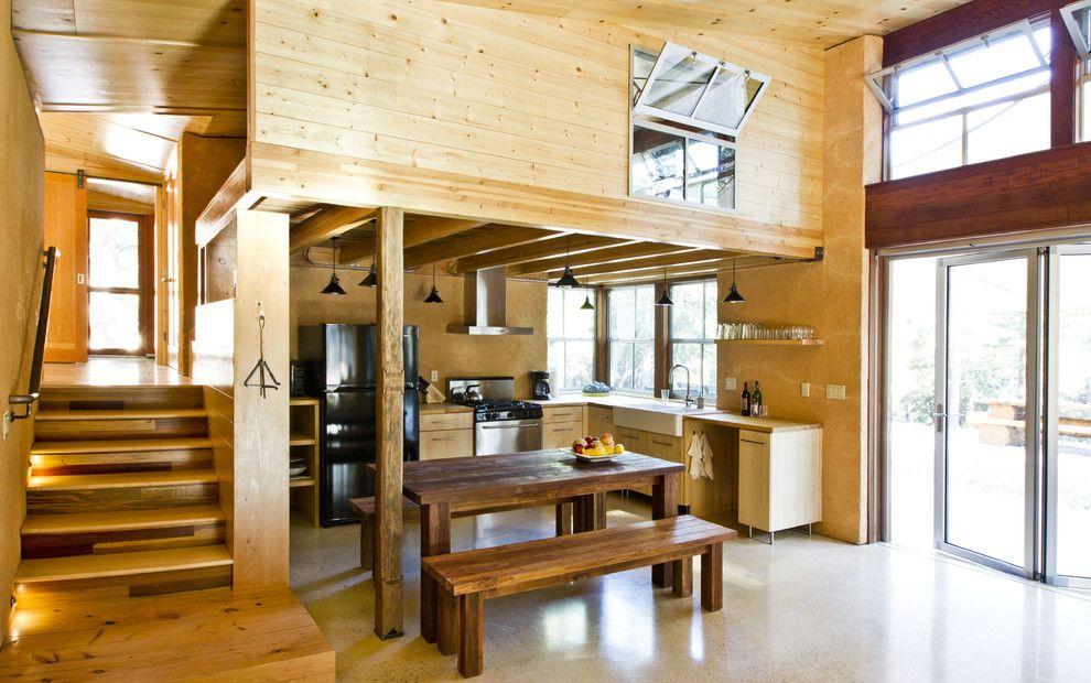 Wohnbereich Küche Holzwand Glaswand massiv Möbel Sitzbank