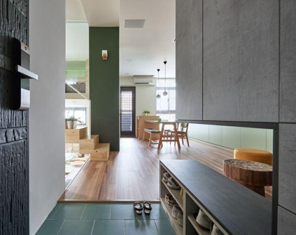 Wohnzimmer Essbereich grüne Fliesen kleine Wohnung