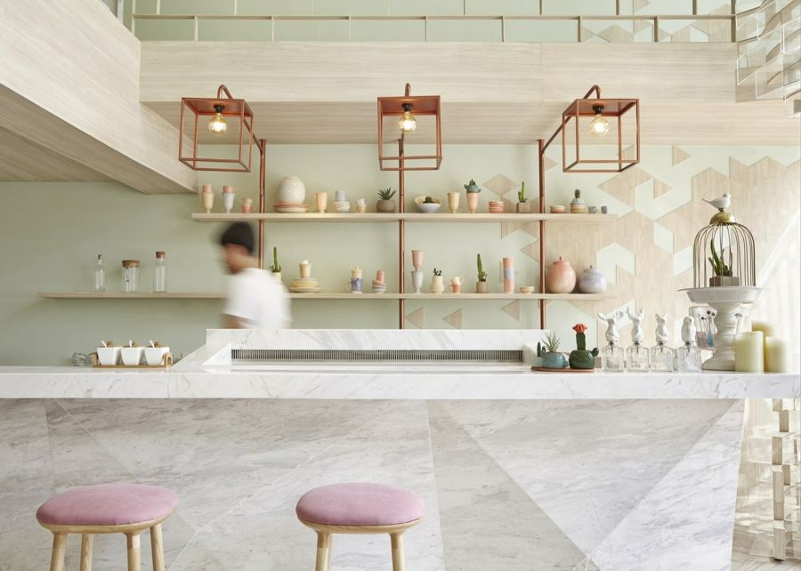 moderne Optik Kaffeehaus Design 2016 Polster rosa