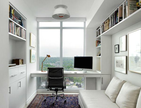 modernes Büro zu Hause gestalten weiß Ambiente