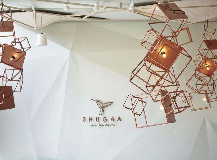 party-space-design Studio Kaffeehaus Shugaa designerische Lichtkörper Rosa Gold