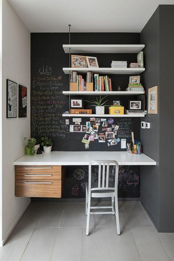 schwarze Tafel weiße Tischplatte Büro zu Hause geringer Platz