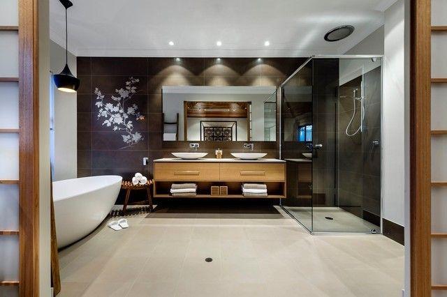 Blumenmuster aziatisches Bad großer Spiegel
