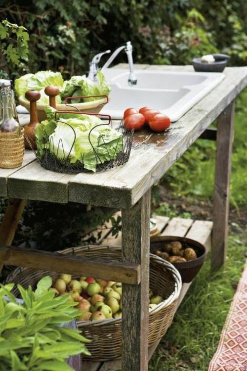 DIY Outdoor Küche Holzschrank Einbauspüle Holzregale