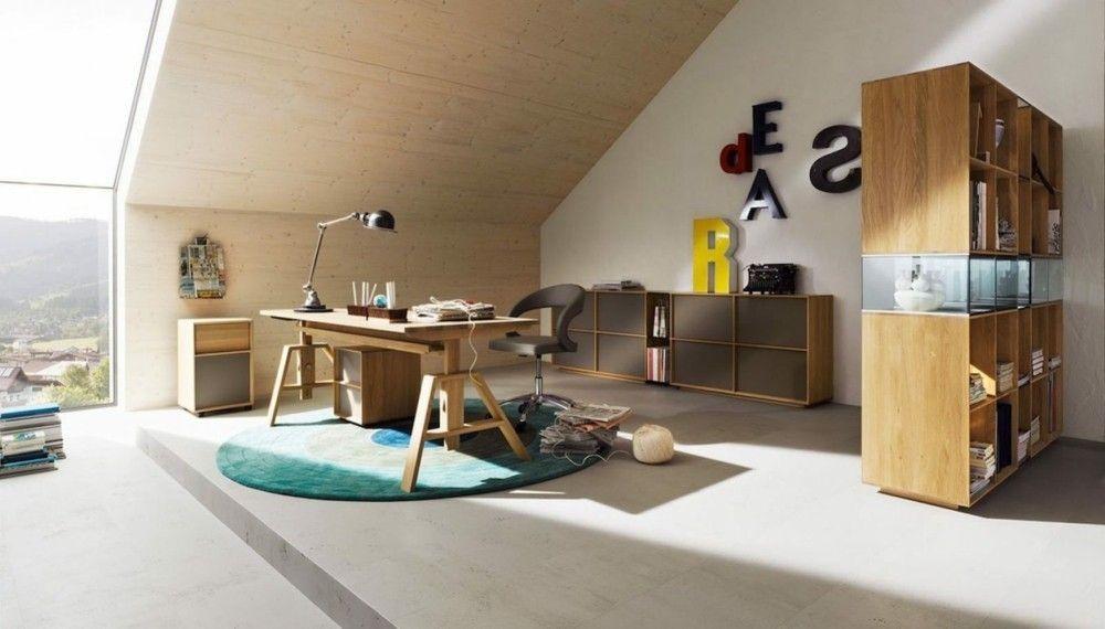 Dachfenster Loft Heimbüro Gestaltungsideen Teppich runf