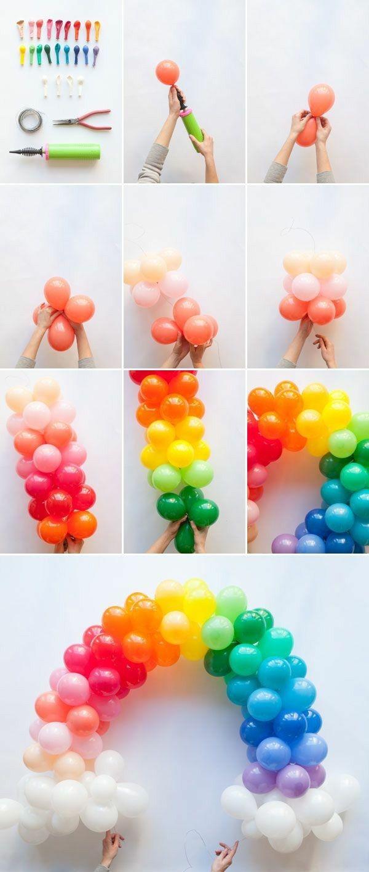 Deko Idee Kinder Geburtstag Bogen aus Luftballons