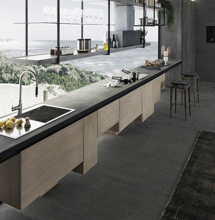 Design Kücheninsel Platte aus Naturstein in Grau