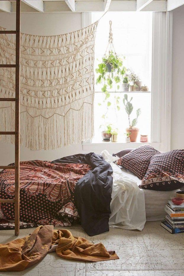 Doppelbett Bohemian Stil Wand Deko Zimmerpflanzen