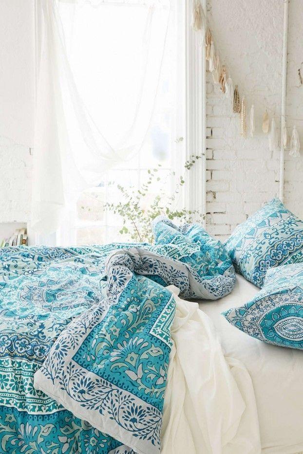 Ethno Muster Bettwäsche in Himmelblau und Weiß Bohemian Schlafzimmer