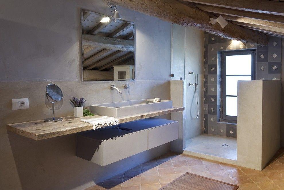 Fliesen ideen rustikal stil bad design