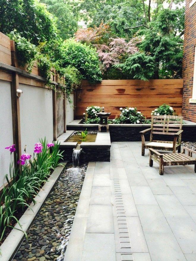 Garten Ideen Wasserbrunnen Holz Sitzbank