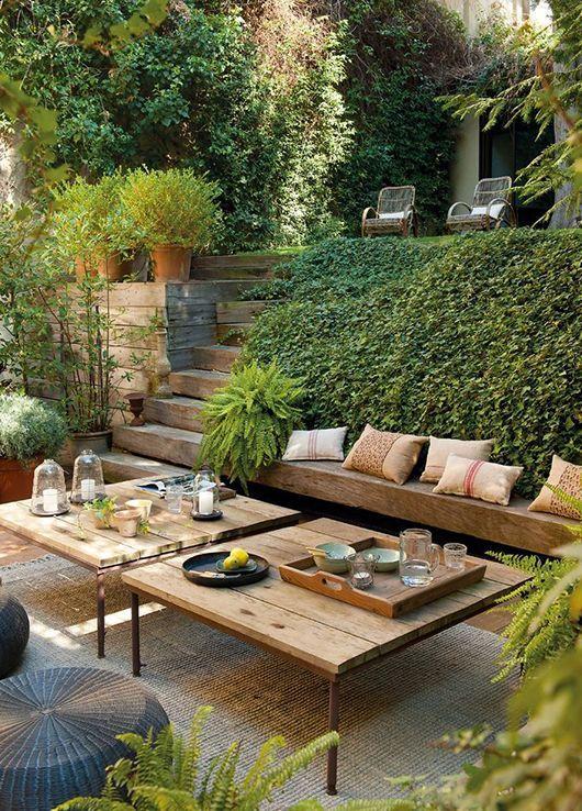 Gartenmöbel aus Holz Outdoor Wohnzimmer im Freien