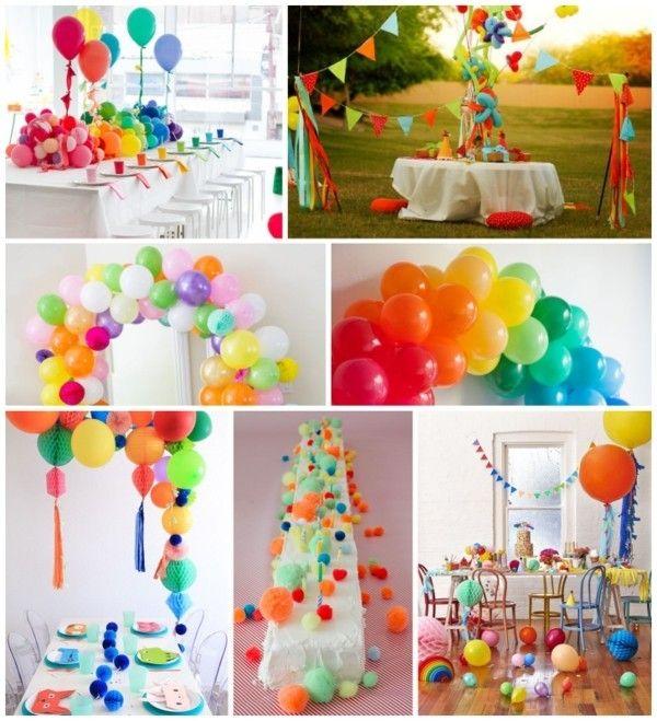 Geburtstagsdeko farbenfrohe Dekoration bunte Luftballons