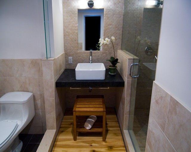 Hocker Waschbecken in Weiß schwarze Waschplatte aziatisches Bad