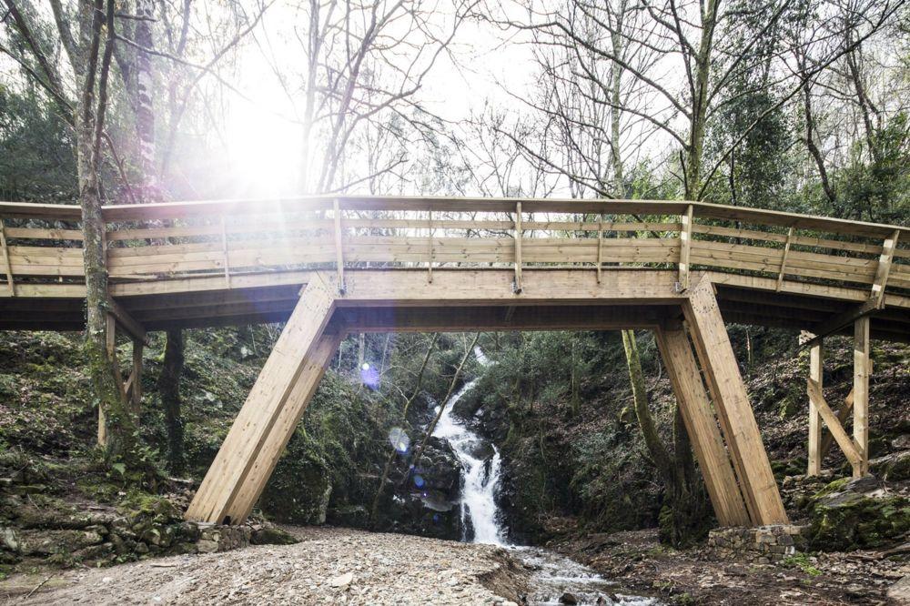 Holzbrücke Wasserfall Paiva Walkways Portugal