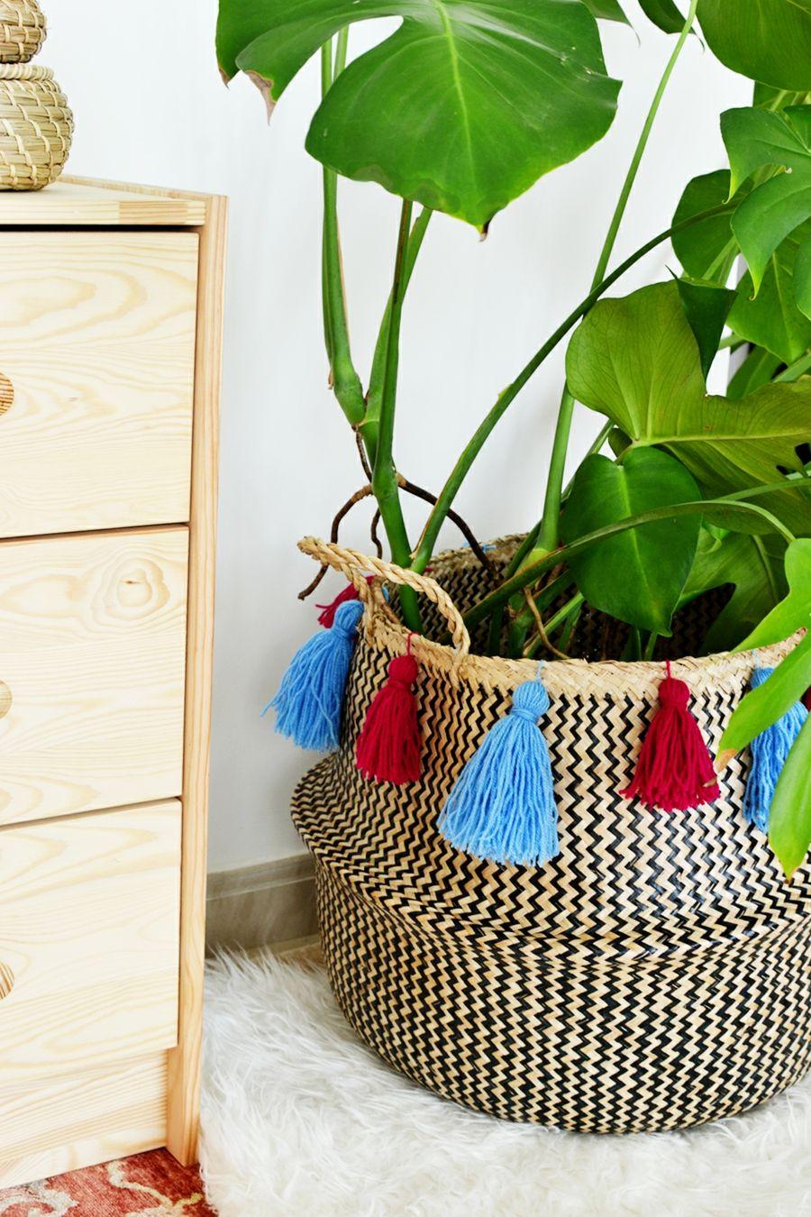 Holzkommode Deko Ideen DIY Korb Pompons
