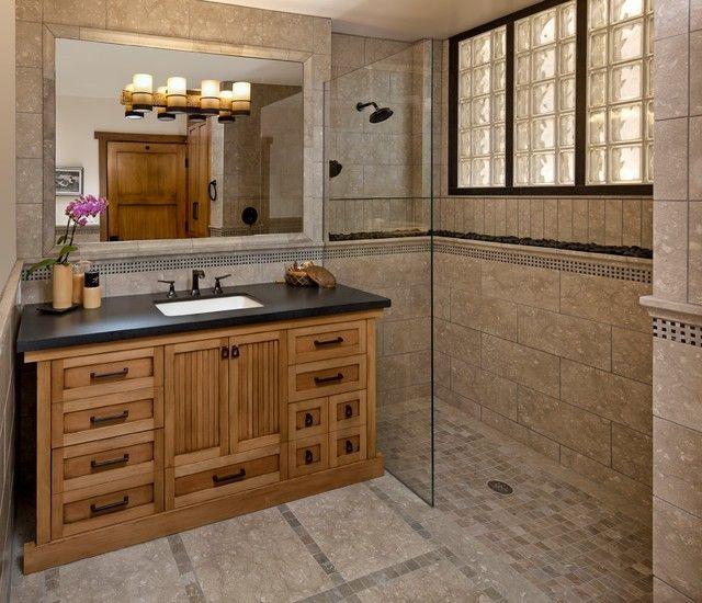 Holzschrank schwarze Waschplatte aziatisches Bad