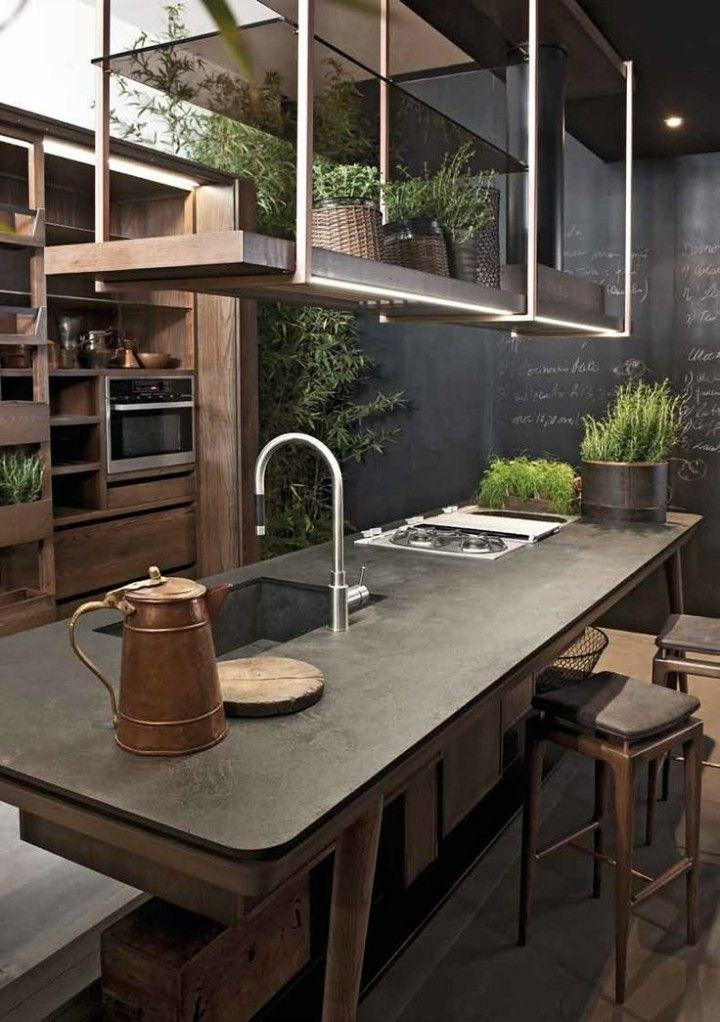 Küche gestalten Ideen stilvolle Kücheninsel Kanne aus Kupfer