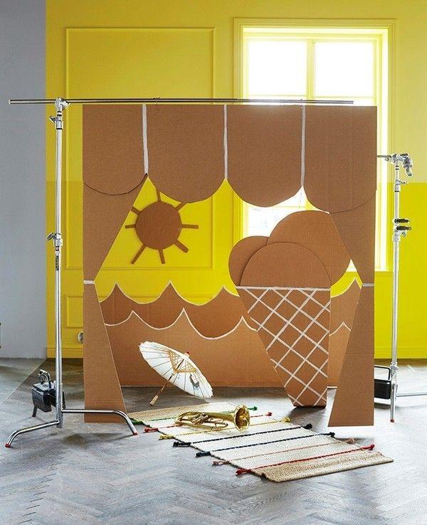 Kinderzimmer DIY Spiele Bühne aus Karton selbstmachen