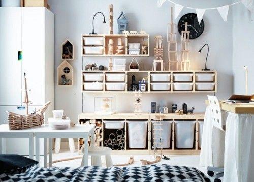 Kinderzimmer Gestaltungsidee Stauraum Ikea weiße Möbel Holzregale