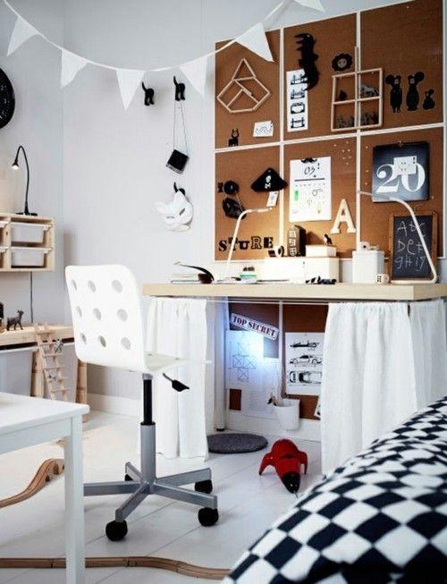 Kork Pinnwand weißer Bürostuhl Wanddeko Raumgestaltung Kinderzimmer