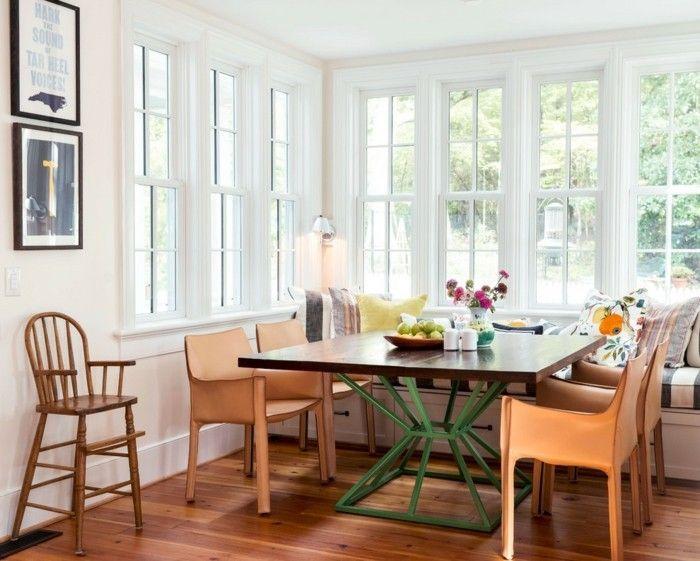 Moderne Leder Esszimmermöbel Ideen Tisch metall elemente