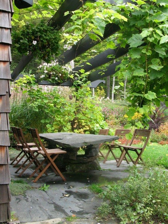 Moderne Patio Ideen Garten große Steintischplatte