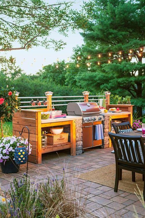 Outdoor Küche Fliesenboden Gartenmöbel Barbecue Holzschränke
