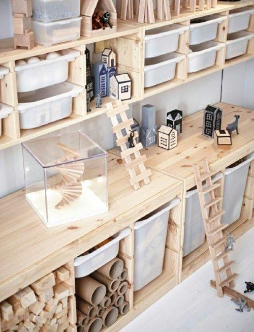 Raumgestaltung Kinderzimmer Möbel von Ikea Holzregale Nadelholz