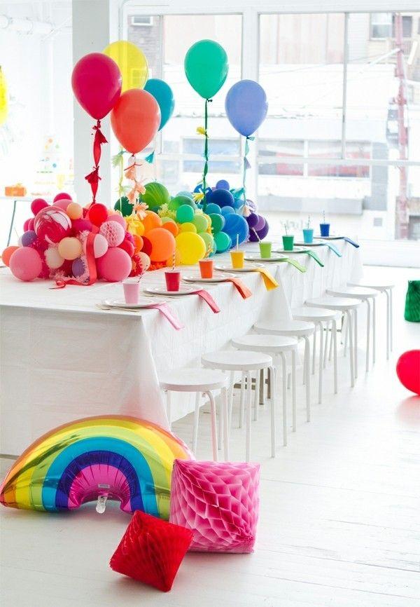 Regenbogenfarben Deko Kinderparty Geburtstagskind Tischgestaltung