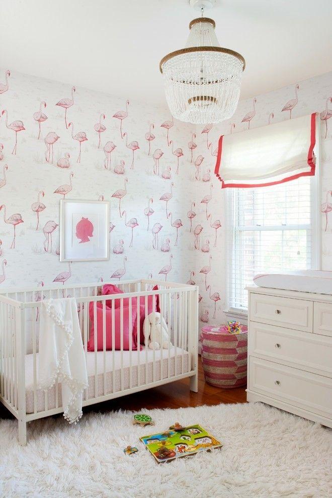 ... Romantischeres als diese rosa Flamingos an der Wand im Kinderzimmer