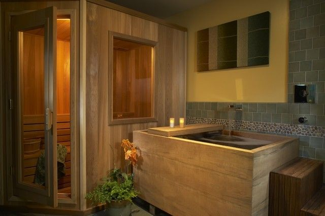 Sauna Naturholz aziatisches Bad