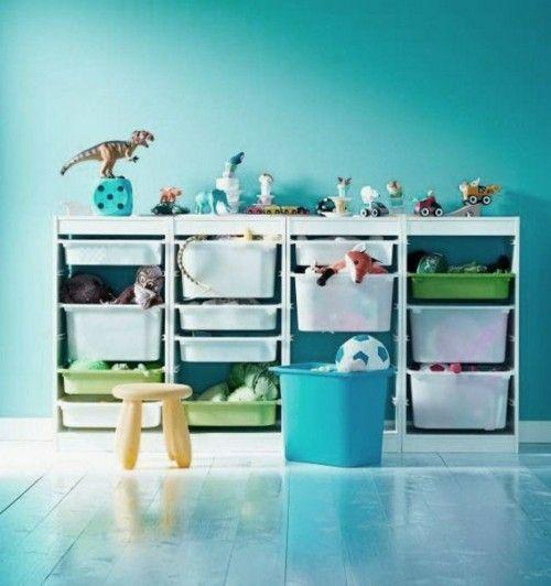 Spielzeuge praktisch aufbewahren Schubladen aus Kunststoff Kinderzimmer