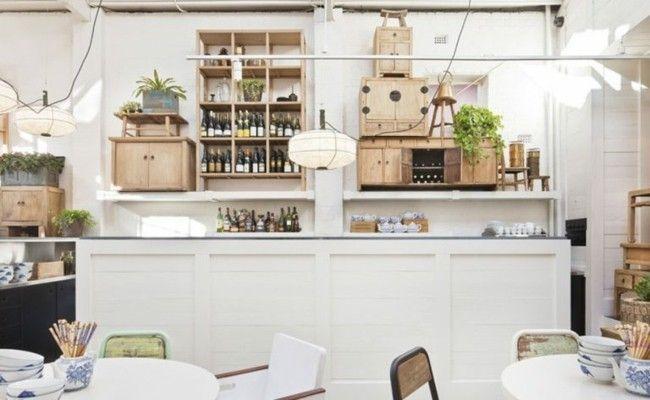 Theke in Weiß Holzschränke Tischplatte in Weß Restaurantgestaltung-resized