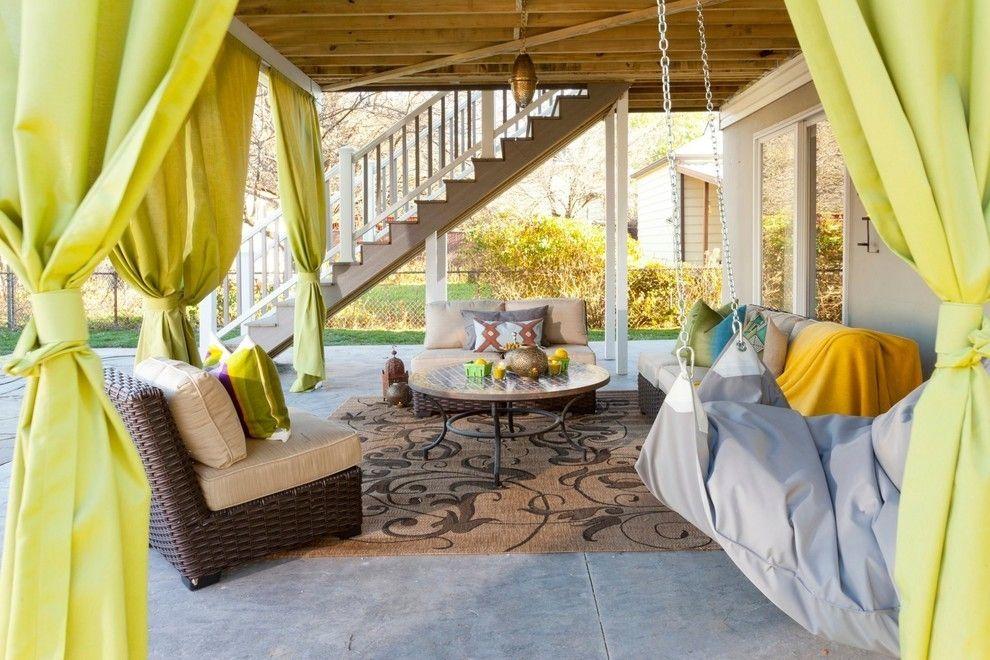 Vorhänge Terrasse Lounge ideen mit Bändern