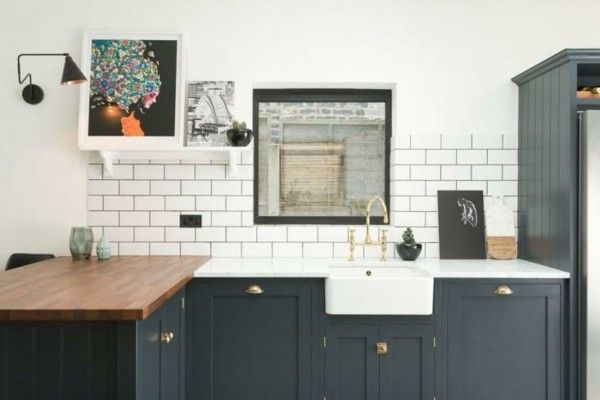 Wohnideen Kochinsel Holz Modern Weiß Fliesenspiegel Küchen Ideen