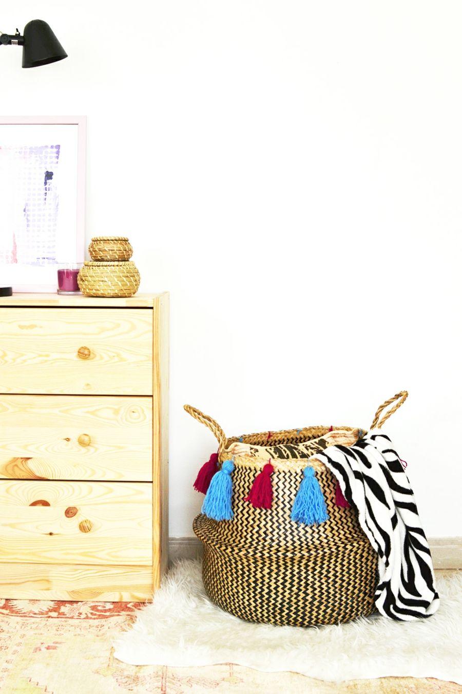 Wohnzimmer schnell ordnen Deko Geflechtkorb für Decken