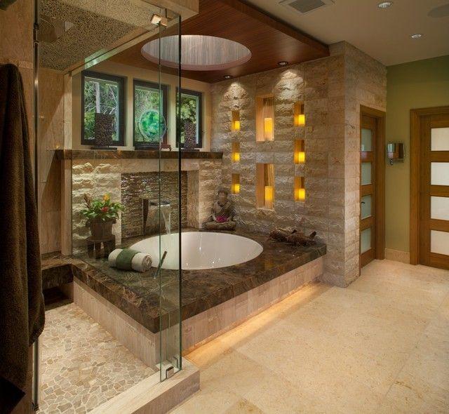 aziatisches Bad Badewanne Glaswand