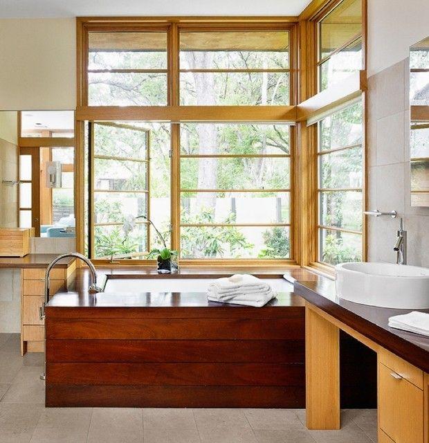 aziatisches Bad Gestaltung in Holz