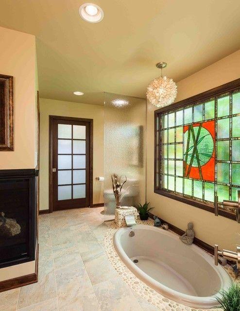 aziatisches Bad Vitrage Fenster Einbauwanne
