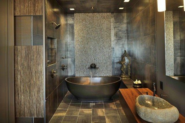 aziatisches Bad dunkle Wanne Zen Stil